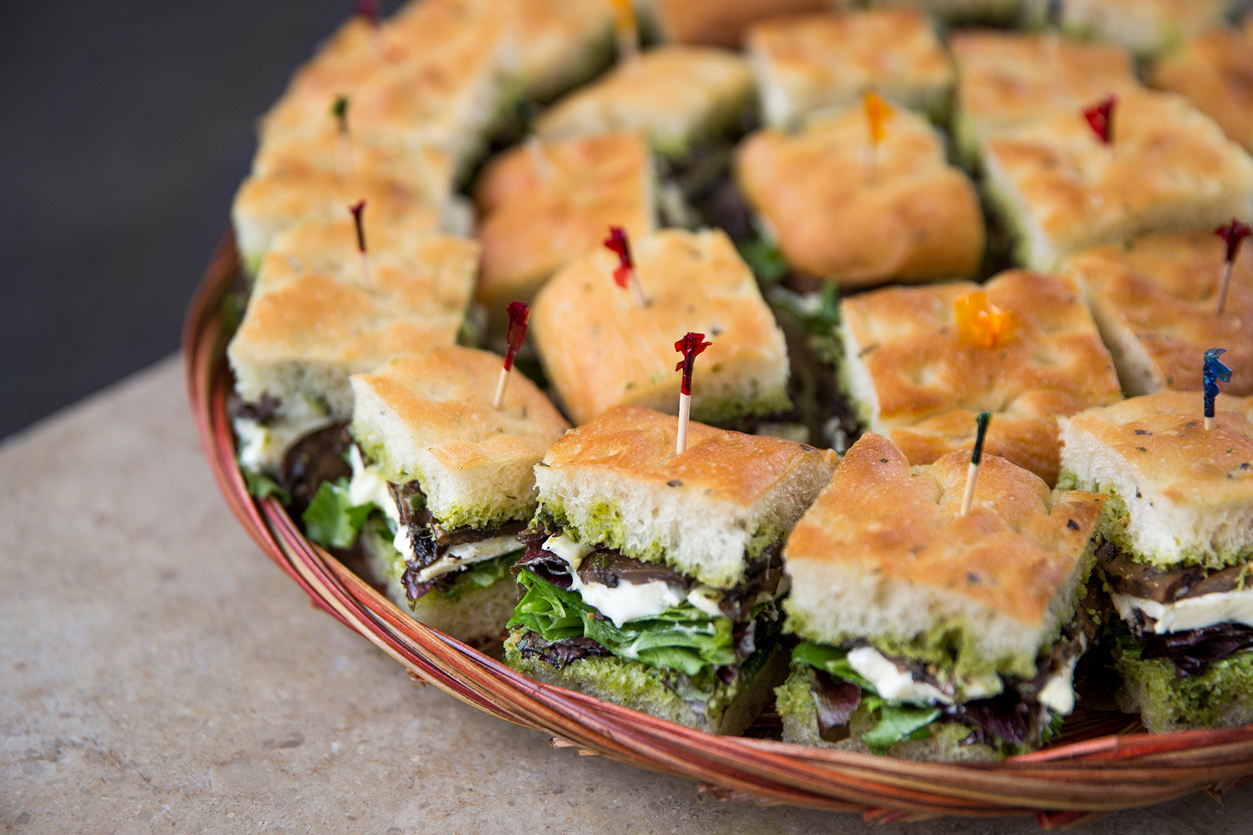 Sandwich platters market hall caterers focaccia sandwich bites platter brie crimini mushrooms baby spinach thecheapjerseys Choice Image